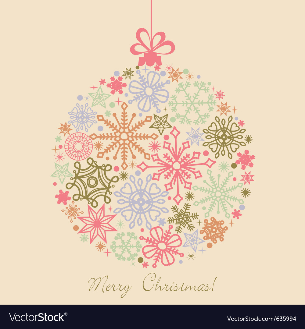 Retro christmas ball vector image