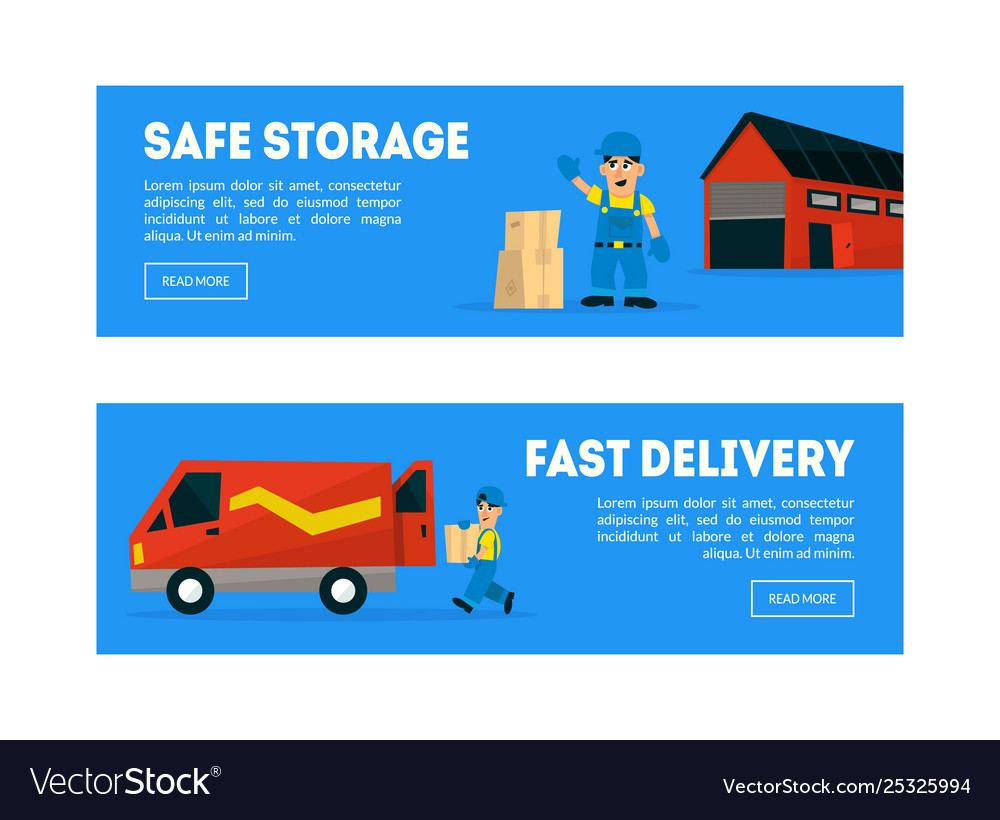 Safe storage fast delivery horizontal banners
