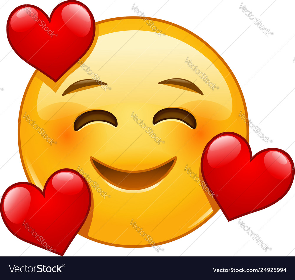 Smiling emoticon with 3 hearts Royalty Free Vector Image