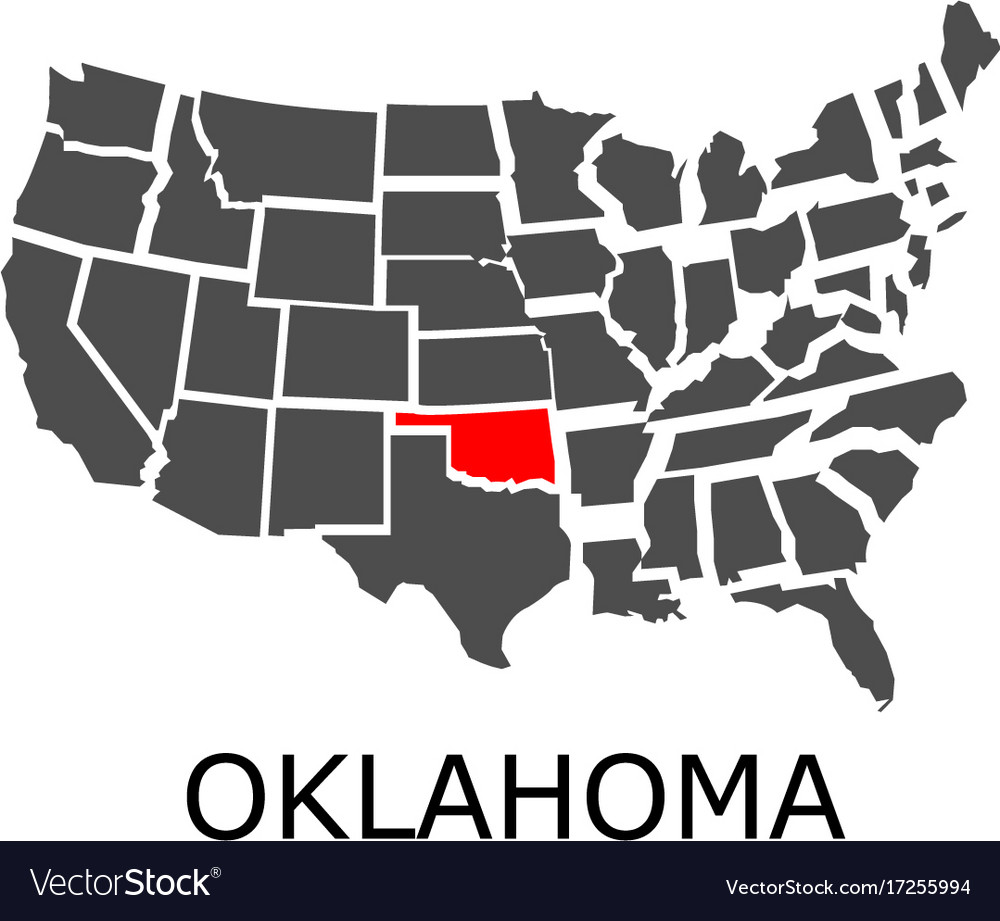 Oklahoma Map In Usa.State Of Oklahoma On Map Of Usa Royalty Free Vector Image