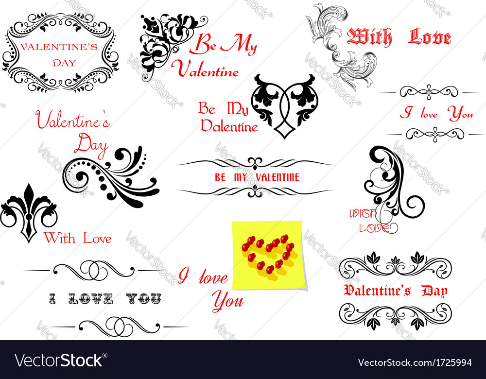 Valentines Day holiday design elements