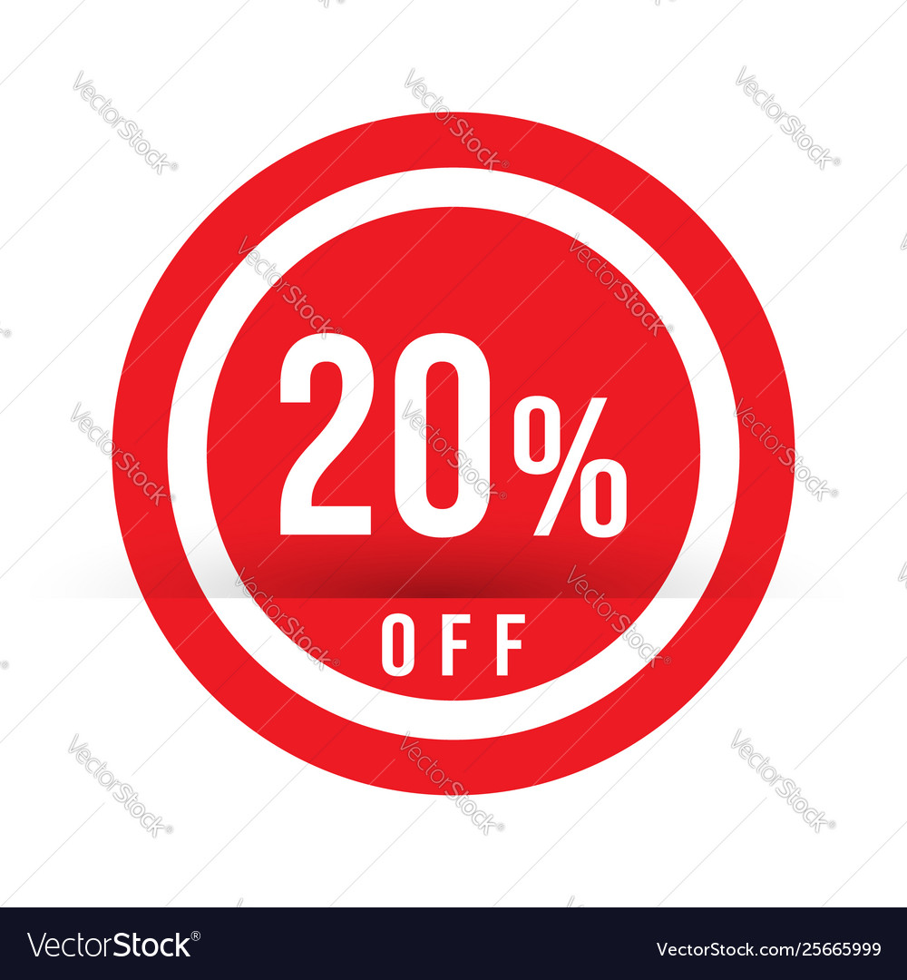 20 percent off - red sale stamp - special offer