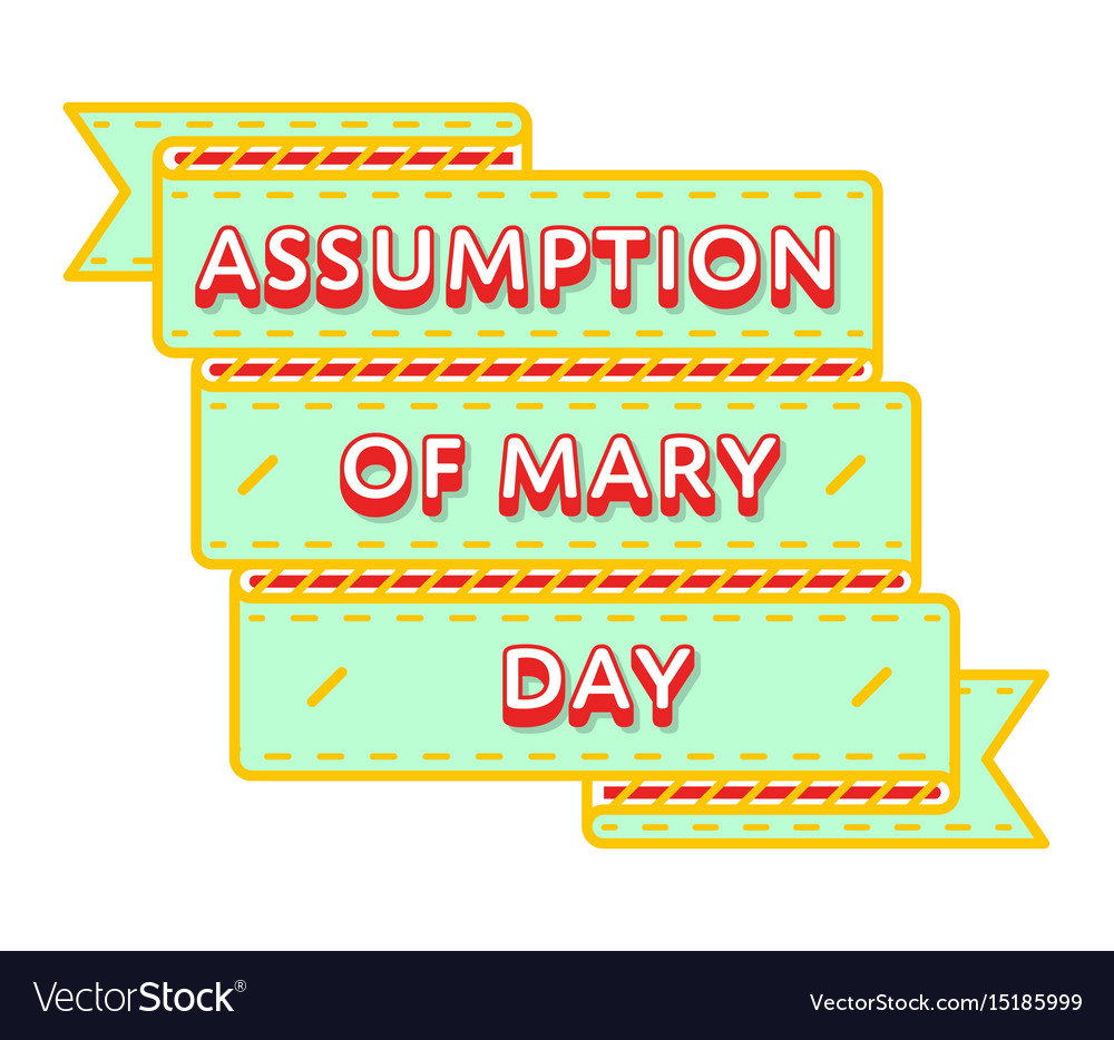Assumption of mary day greeting emblem