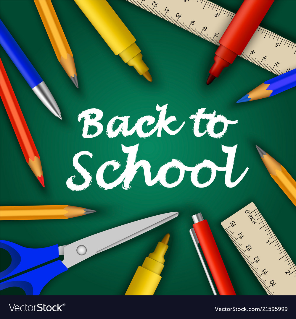 Back to school concept background realistic style