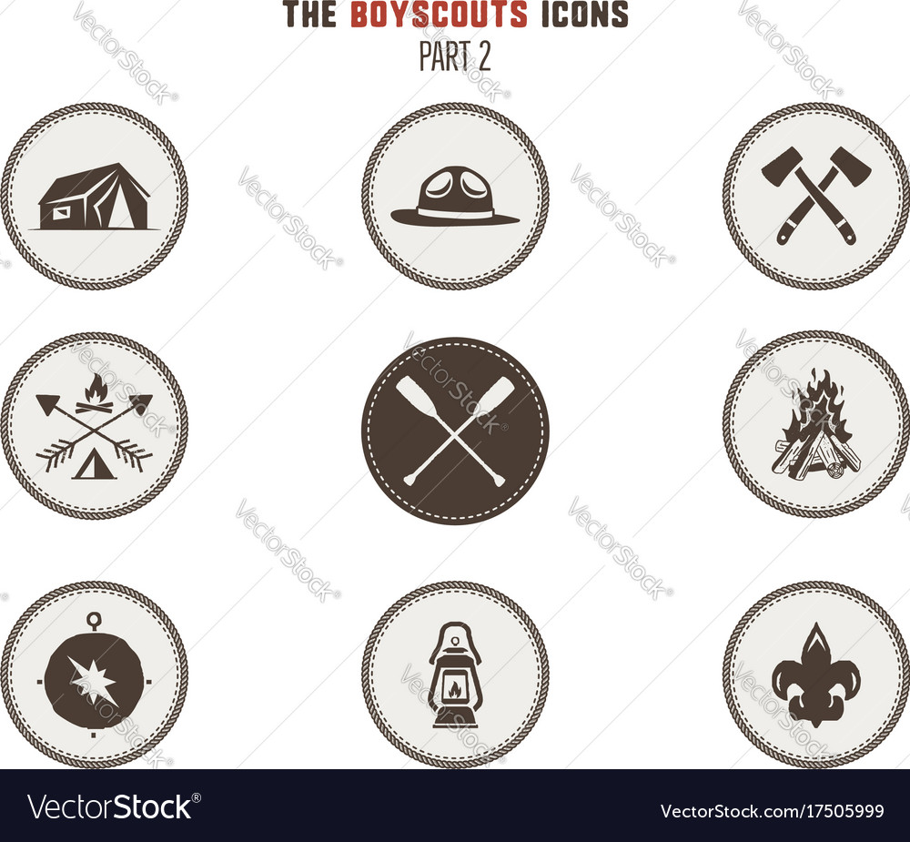 Boy scouts icons patches camping stickers tent vector image