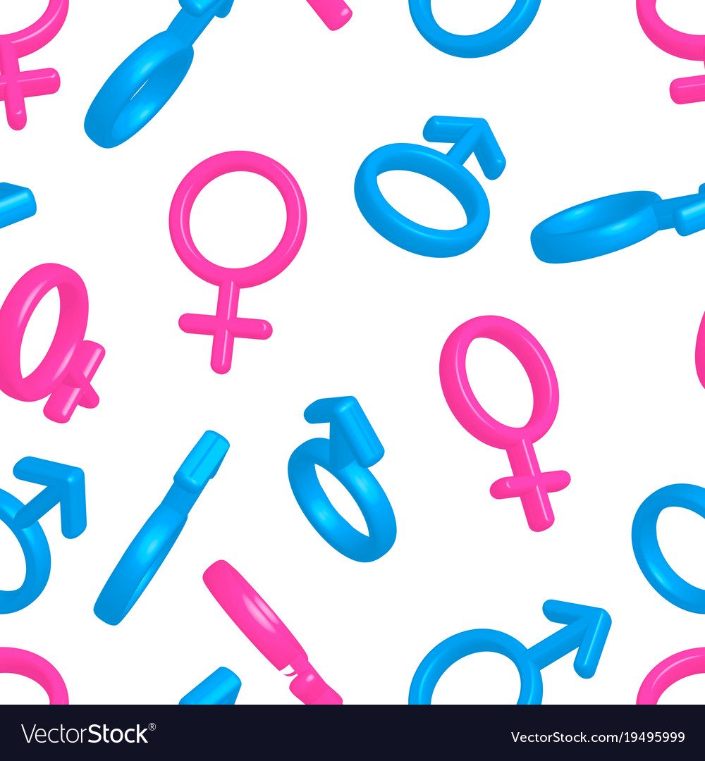 Bright colorful men and women gender signs on