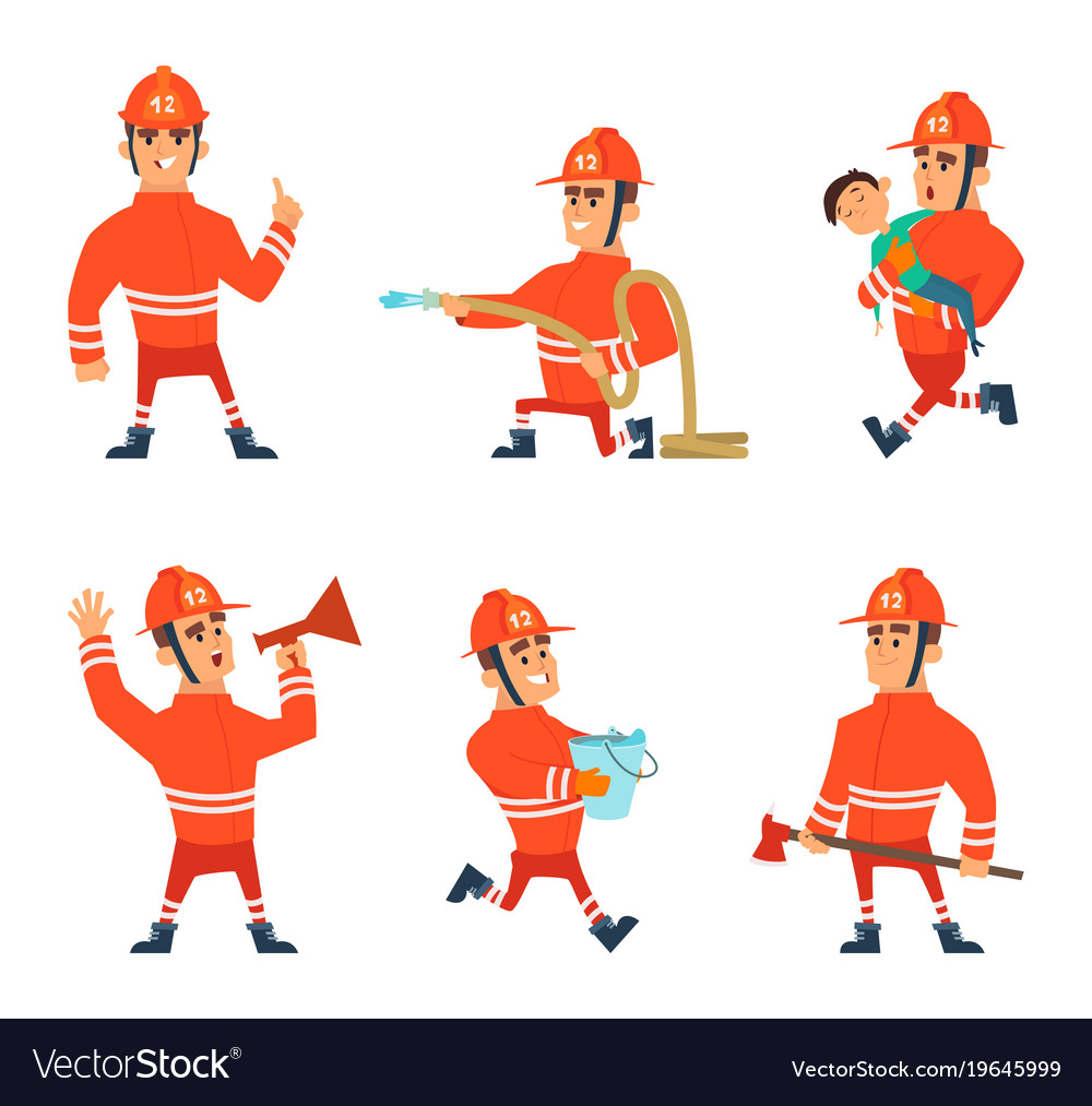 Cartoon characters of firefighters in action poses