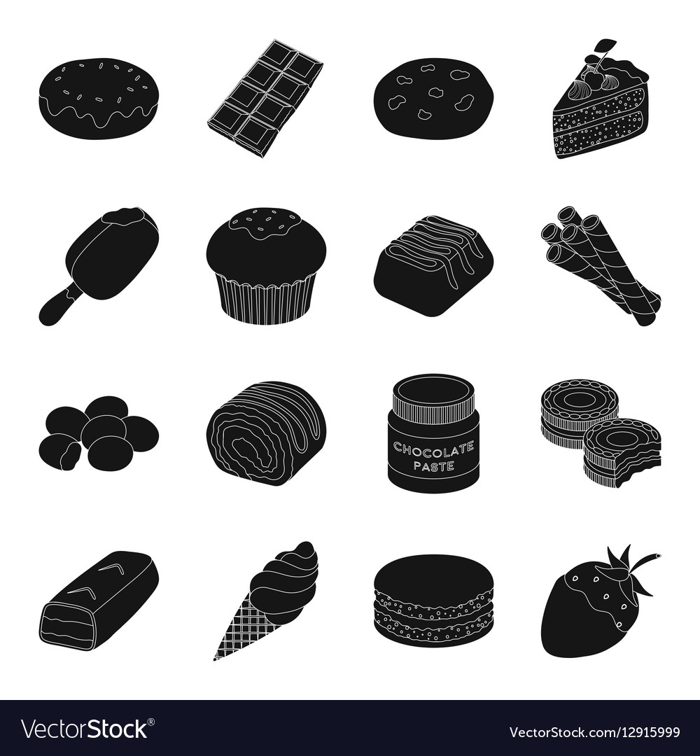 Chocolate desserts set icons in black style Big
