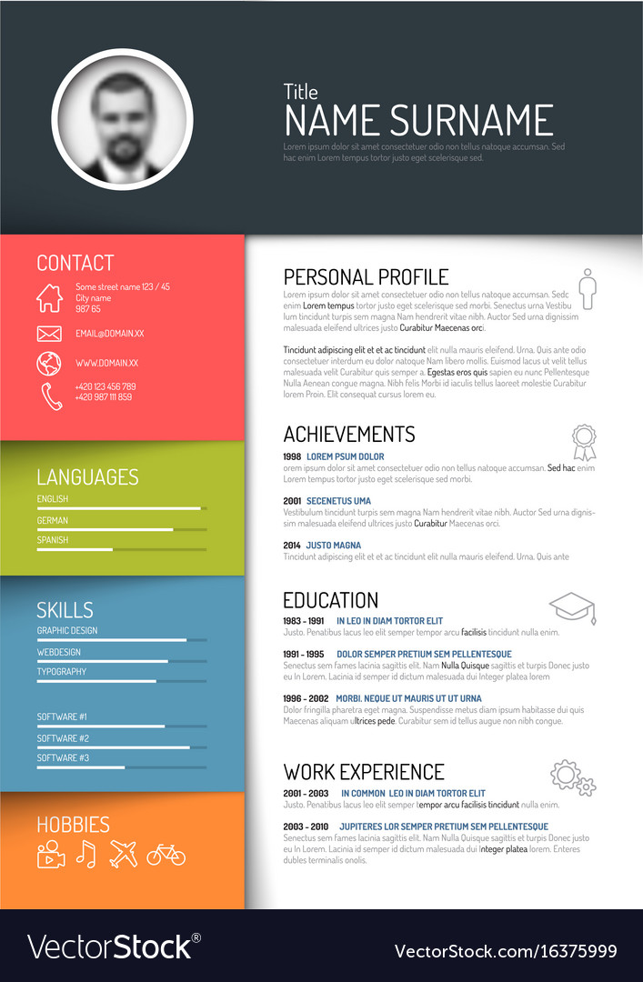 Cv Resume Template Royalty Free Vector Image Vectorstock