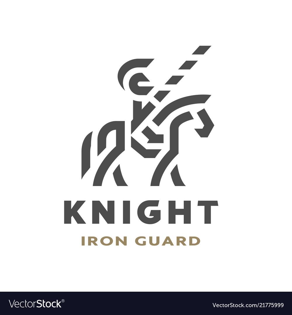 Equestrian knight linear logo symbol