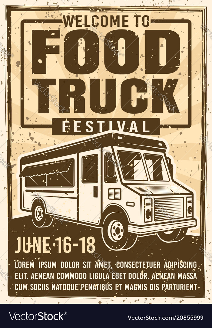 Food truck festival advertising vintage poster