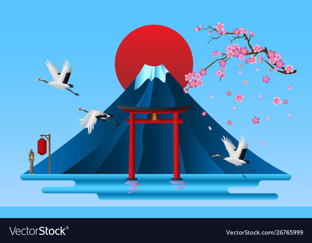 Landscape japanese cultural symbols