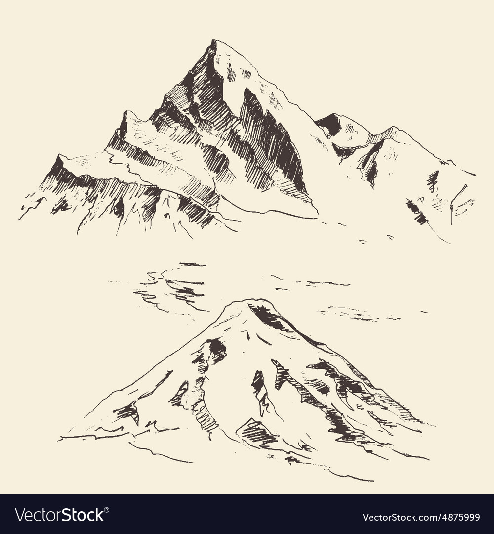 Mountains Contours Engraving Hand Draw Royalty Free Vector