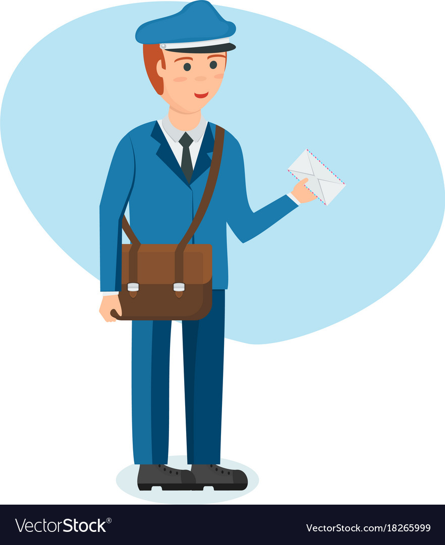 Postman with briefcase carries parcels and letters vector image