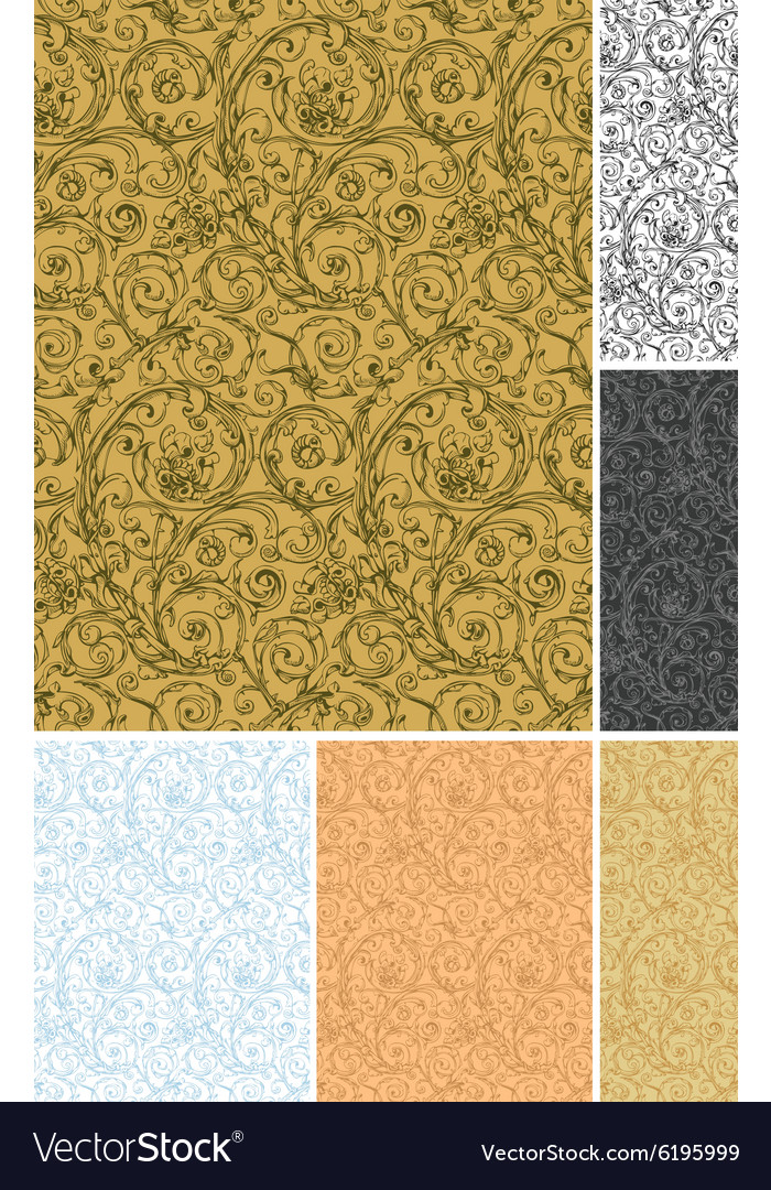 Seamless wallpaper pattern set vector image