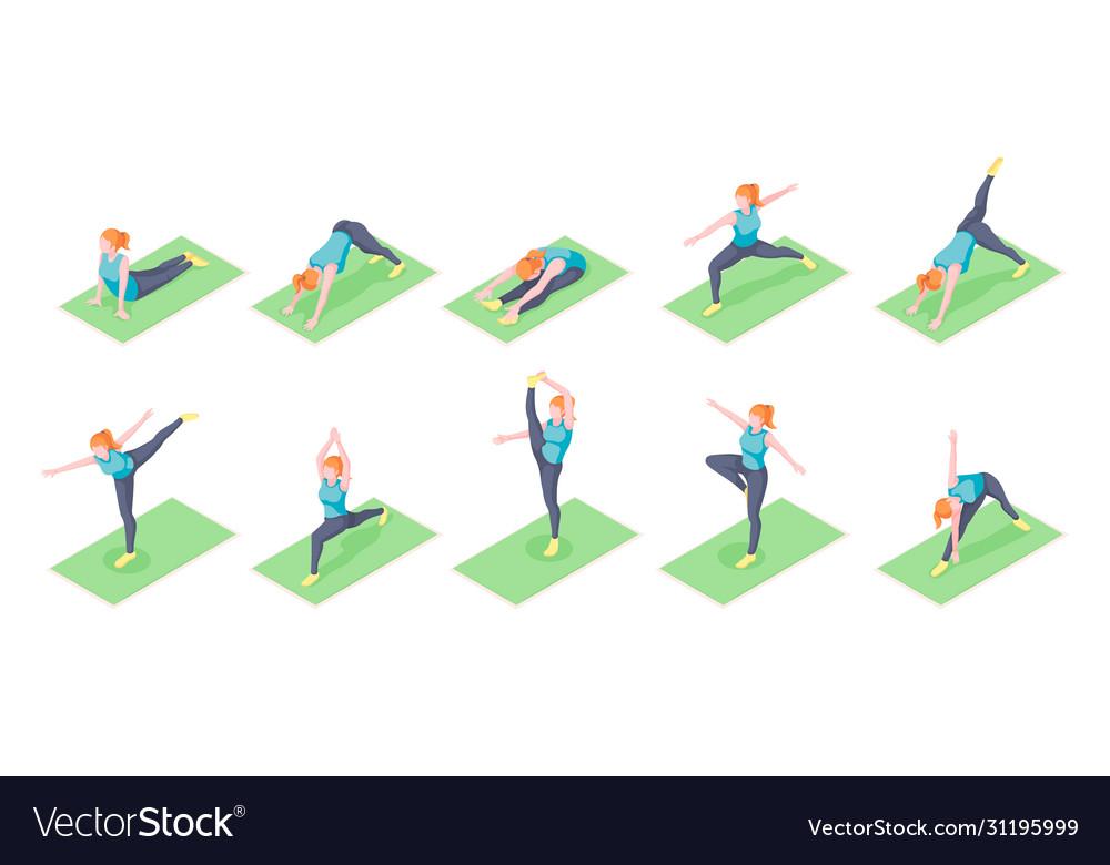 Woman yoga poses girl fitness exercise isometric