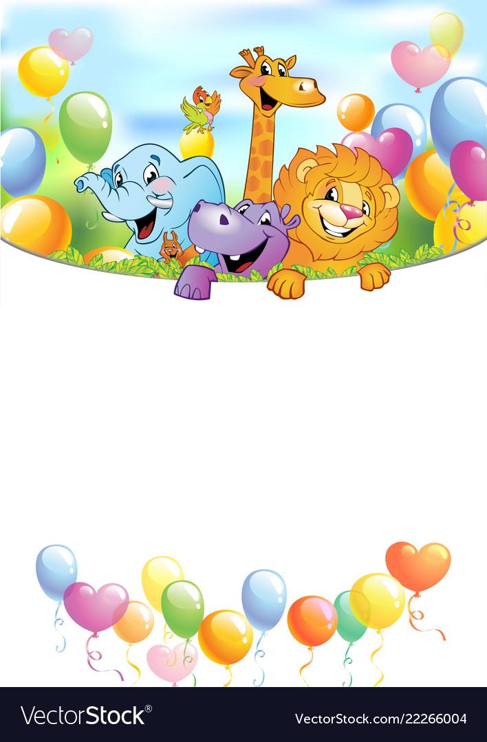 Cartoon cheerful animals holiday background