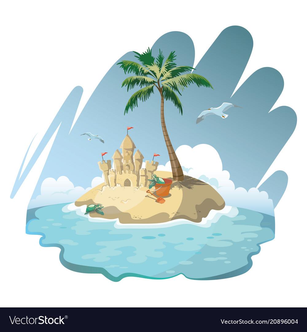 Cartoon island with a sandy house vector image
