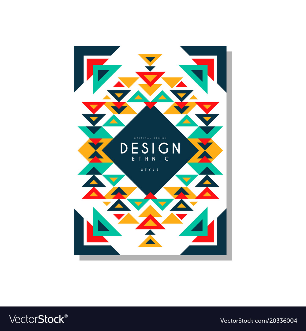 Design ethnic style card temlate colorful ethno vector image