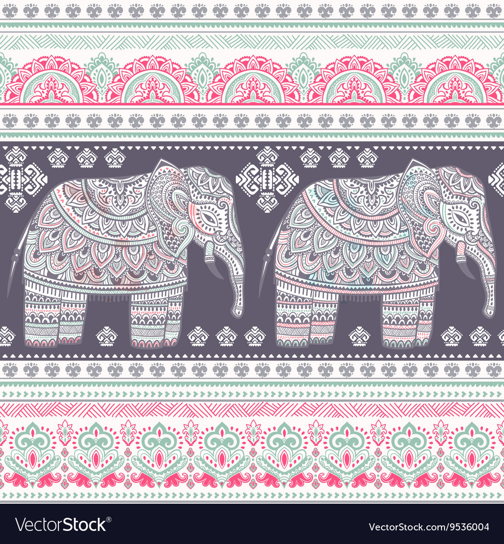 Ethnic indian bohemian style elephant seamless