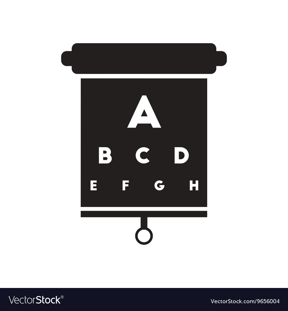 Flat icon in black and white style eyesight check