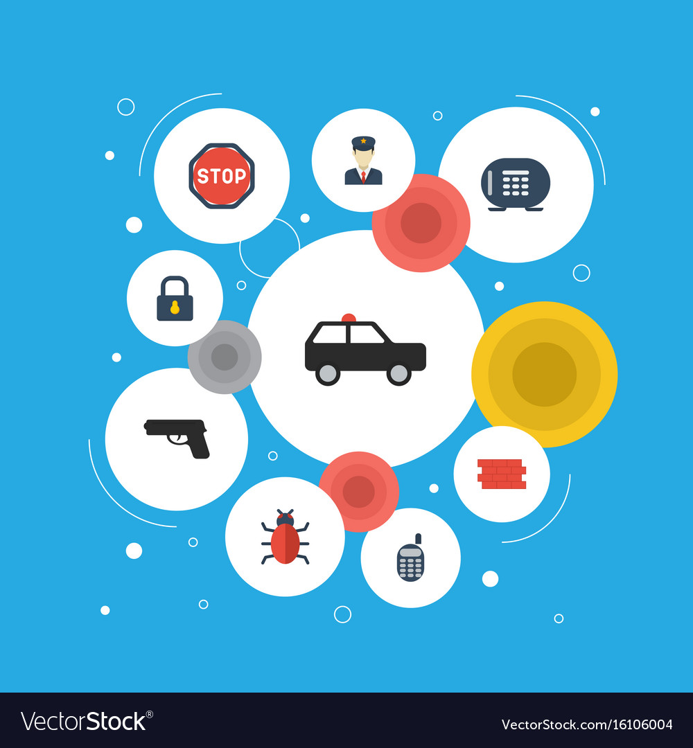 Flat icons walkie-talkie brick wall policeman vector image