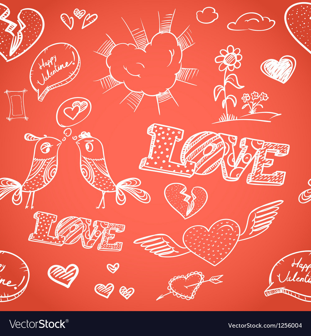 Happy Valentines Day Elements Seamless Background Vector Image