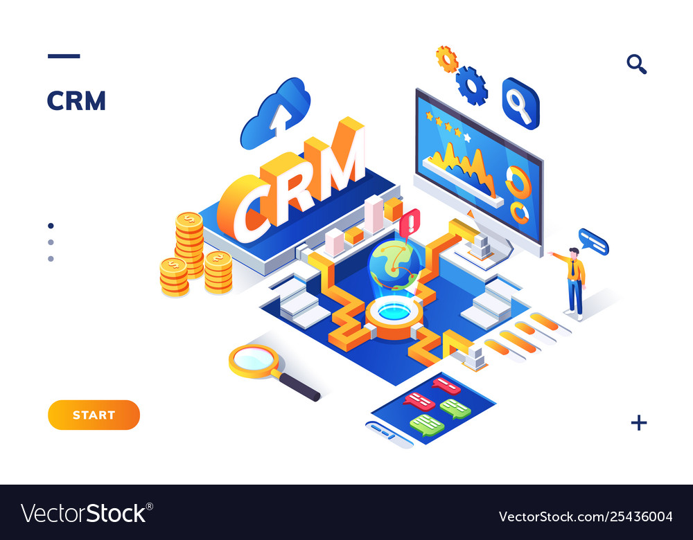 Isometric banner for crm or erp customer client