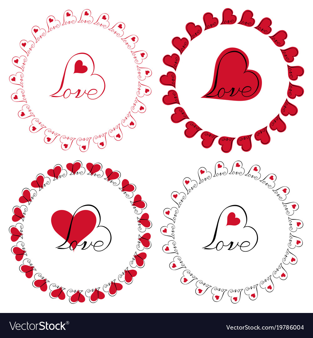 Love heart circle frames clipart Royalty Free Vector Image
