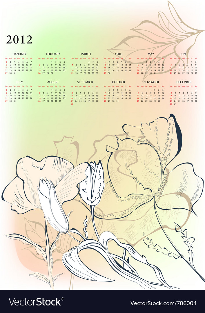 Romantic background with calendar for 2012 vector image