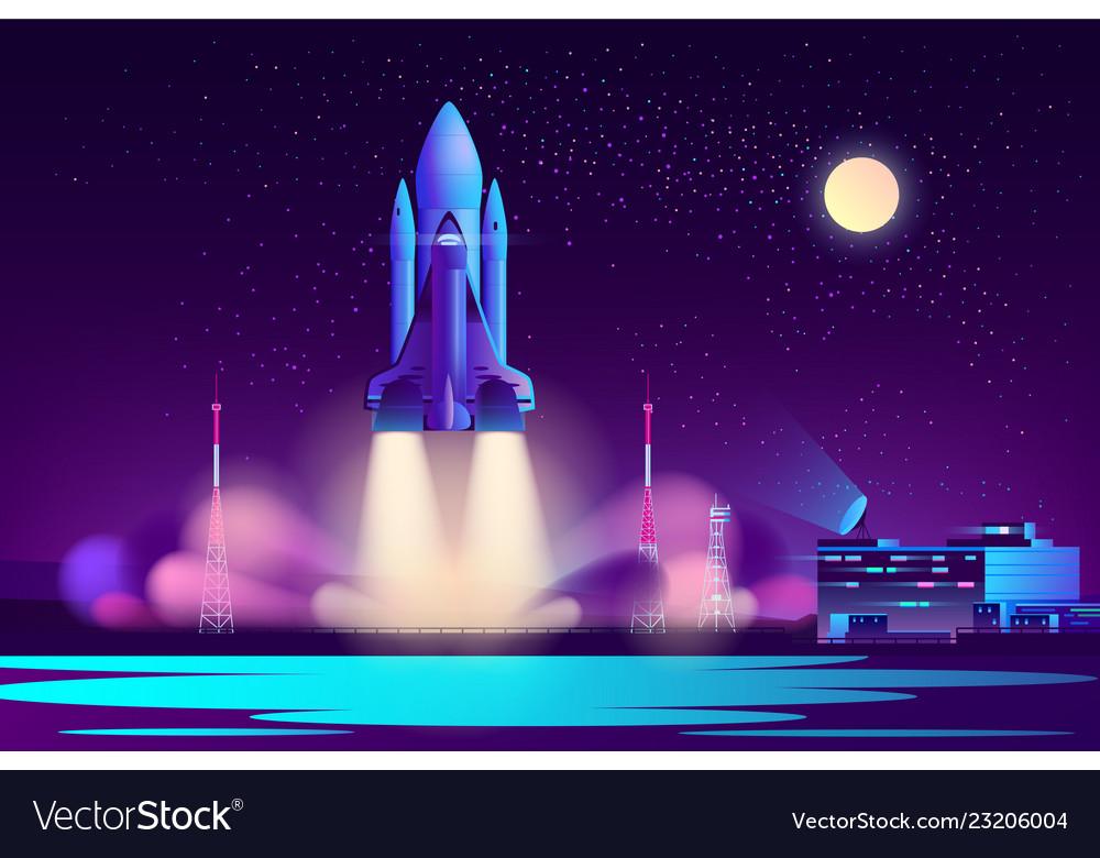 Space shuttle night launching cartoon