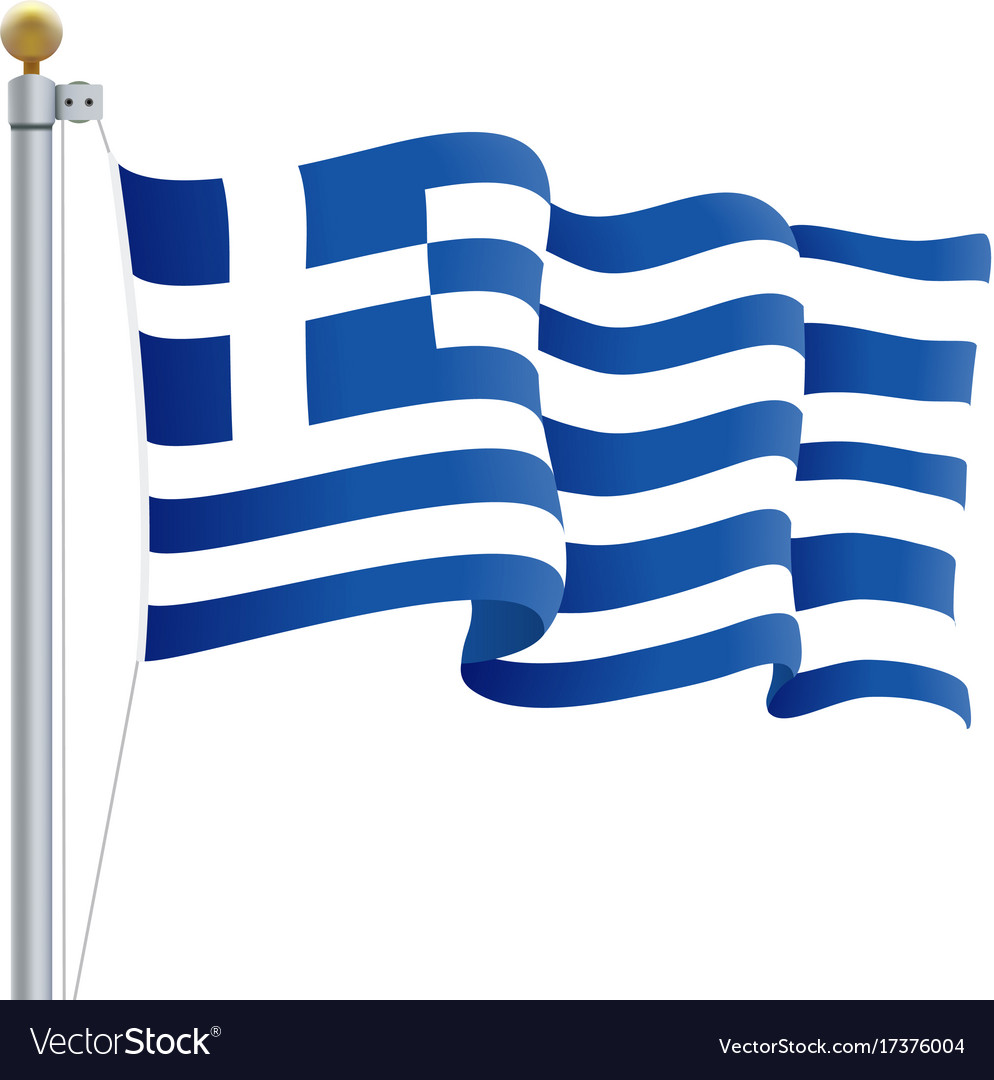 Waving greece flag isolated on a white background