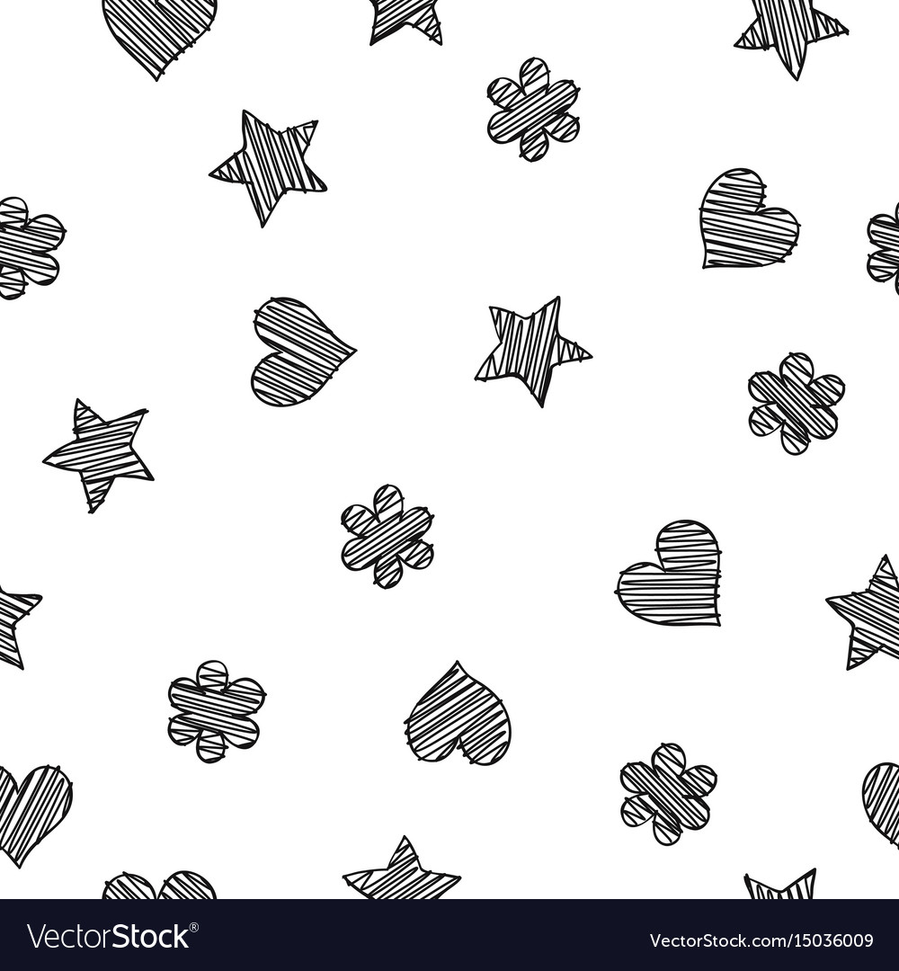 Black scribble shapes on white background vector image