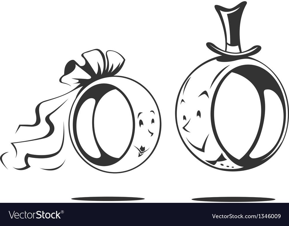 Bridegroom and bride wedding rings