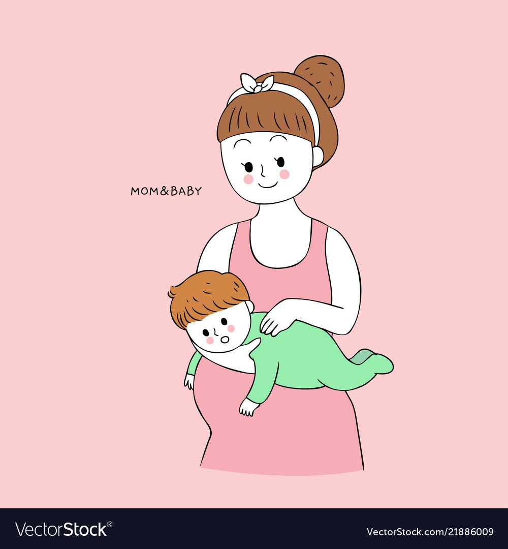 Cartoon Cute Mom And Baby Burping Royalty Free Vector Image