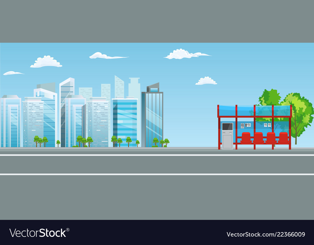 Empty bus stop with city skyline flat design style