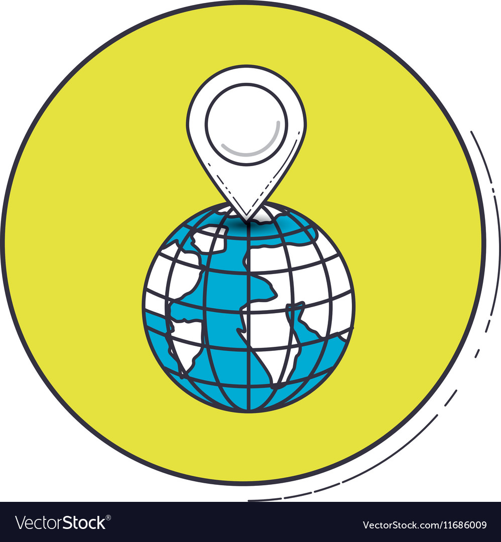 Gps mark and planet inside green button design vector image
