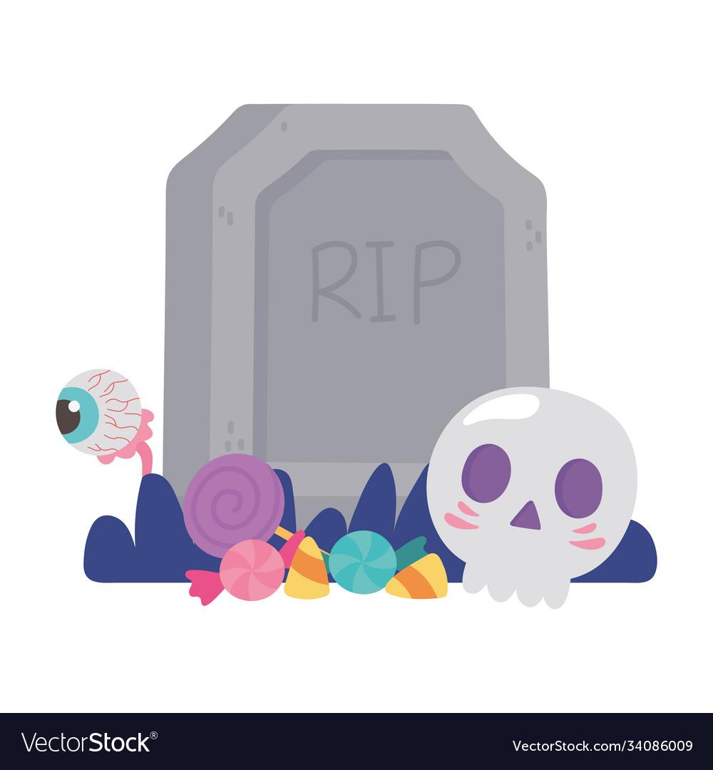 Happy halloween tombstone skull creepy eye