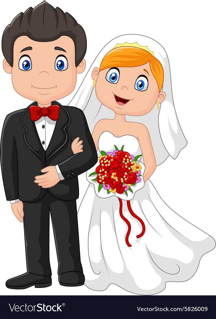 Happy wedding ceremony bride and groom