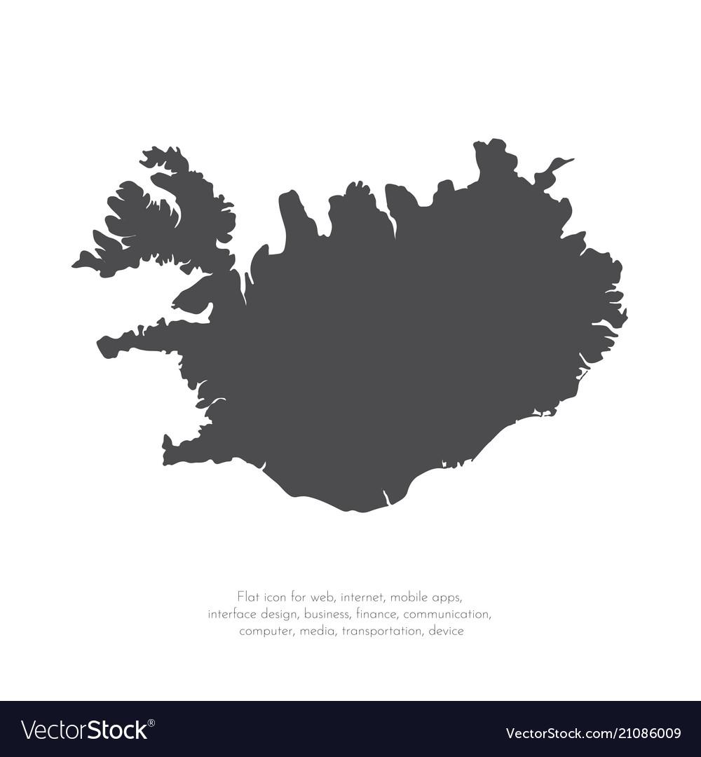 Map iceland isolated black