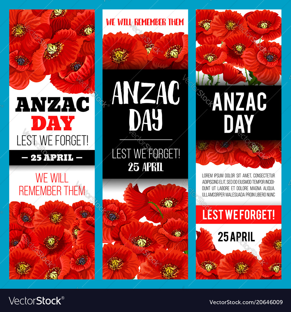 Poppy flower banner for anzac remembrance day vector image mightylinksfo