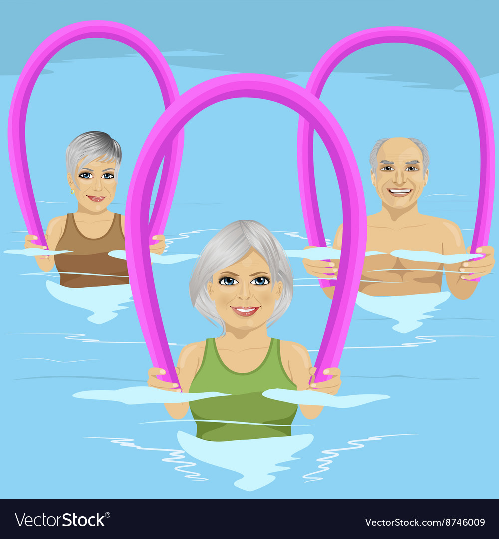 Senior people with foam rollers vector image