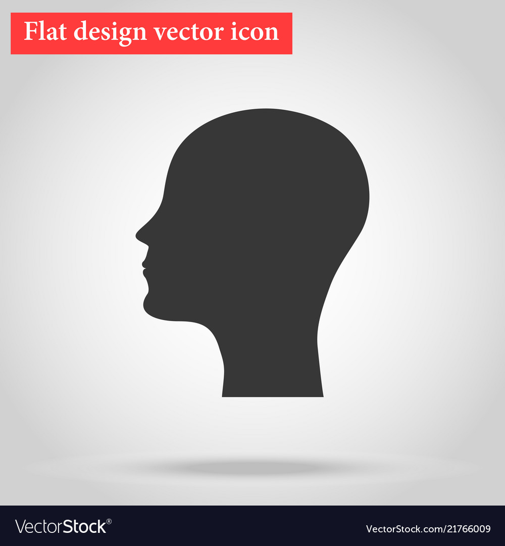 Silhouette of the head and face bald man icon flat