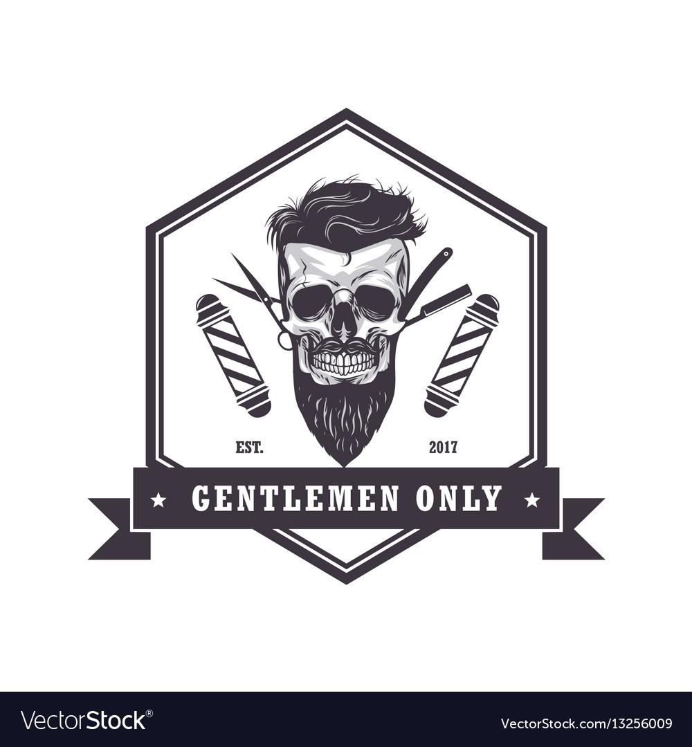 Skull barber shop logo retro vintage template