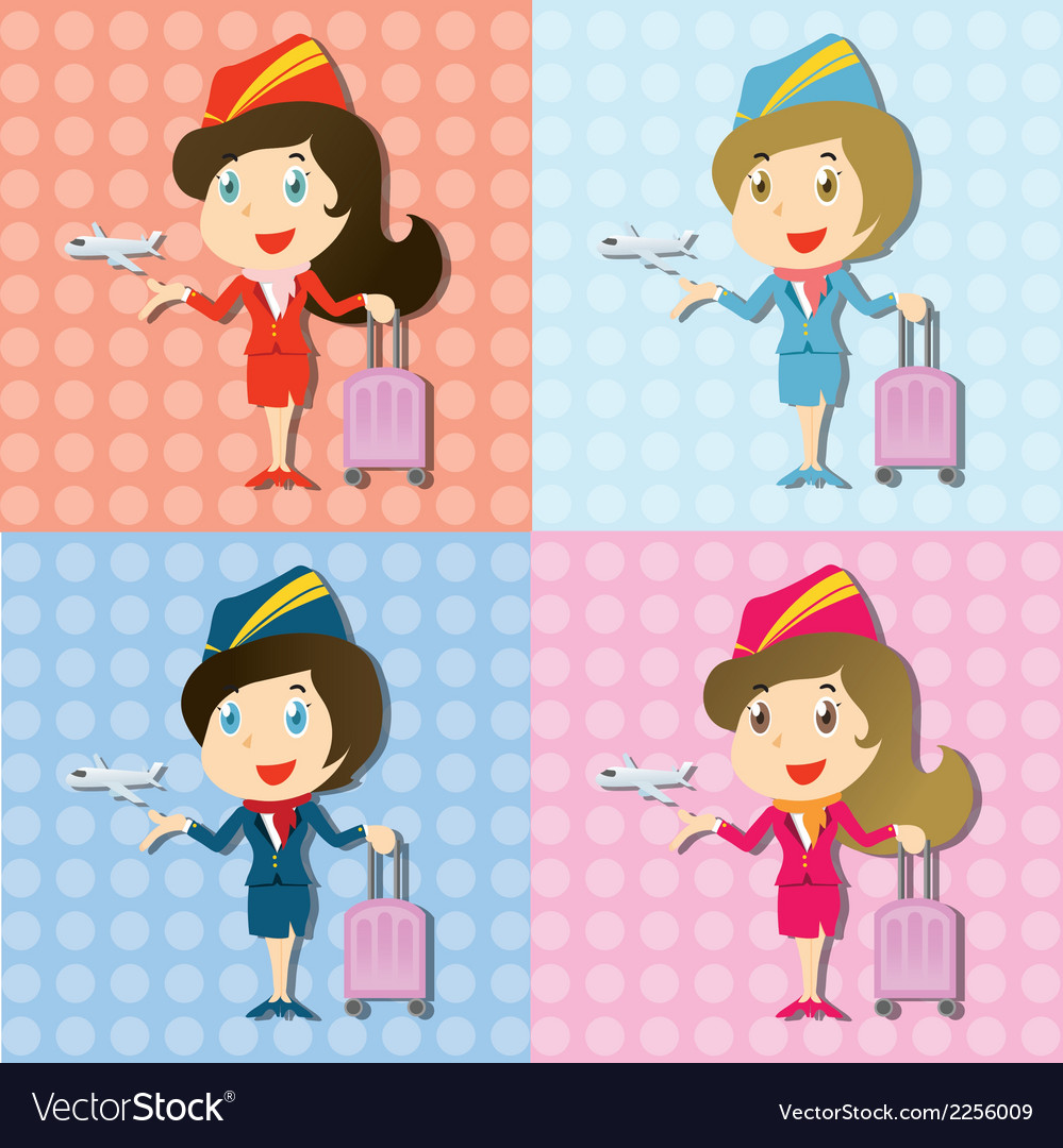 Stewardess with uniform and little airplane