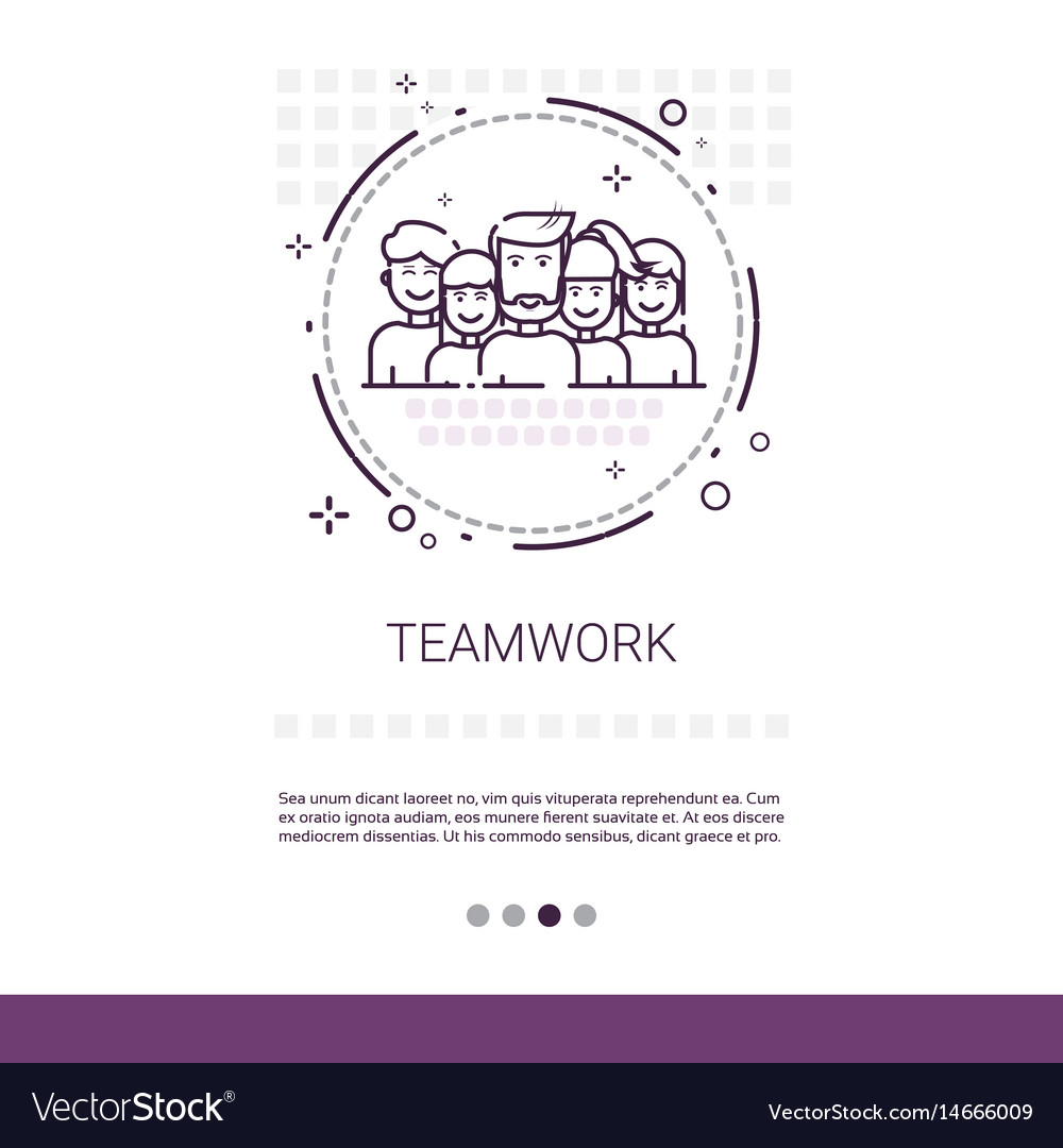Teamwork management business team banner with copy vector image