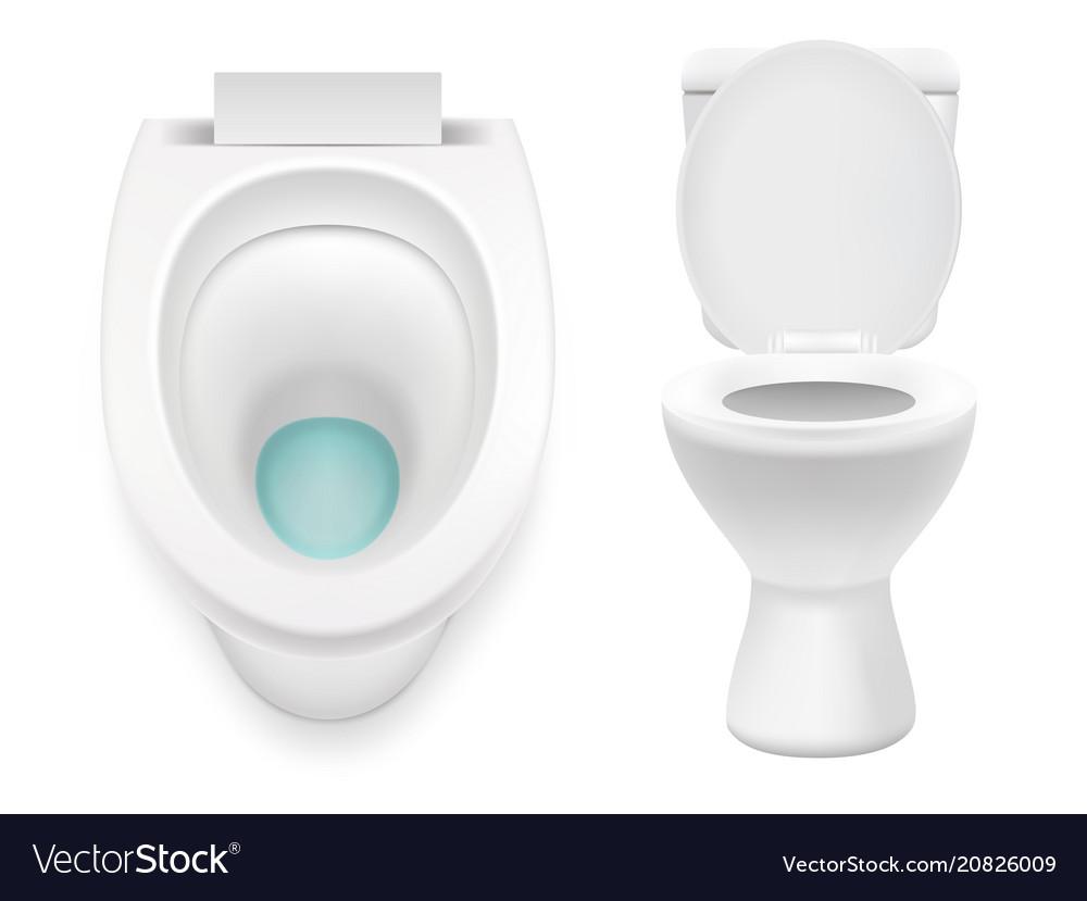 White toilet icon set realistic vector image