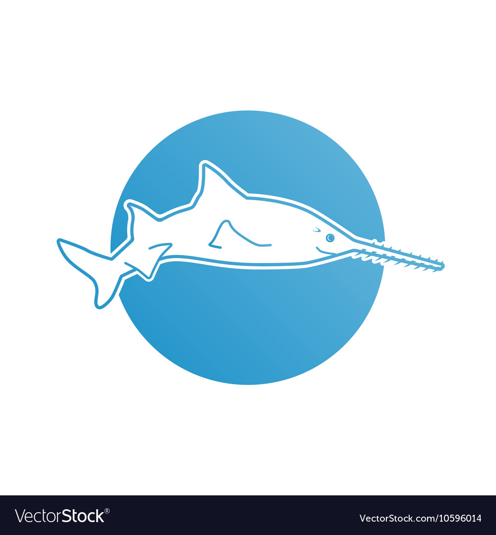 Blue flat logo sawfish for company and business
