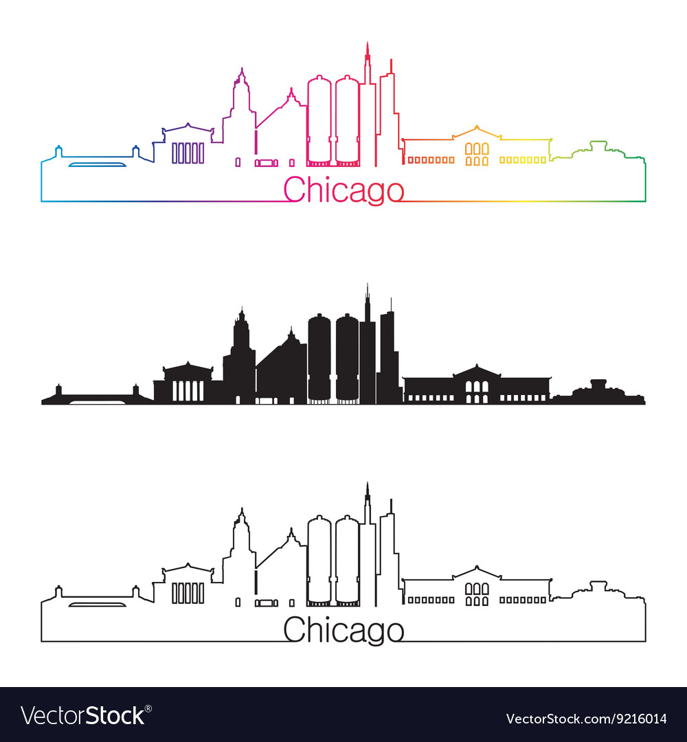 Chicago skyline linear style with rainbow in