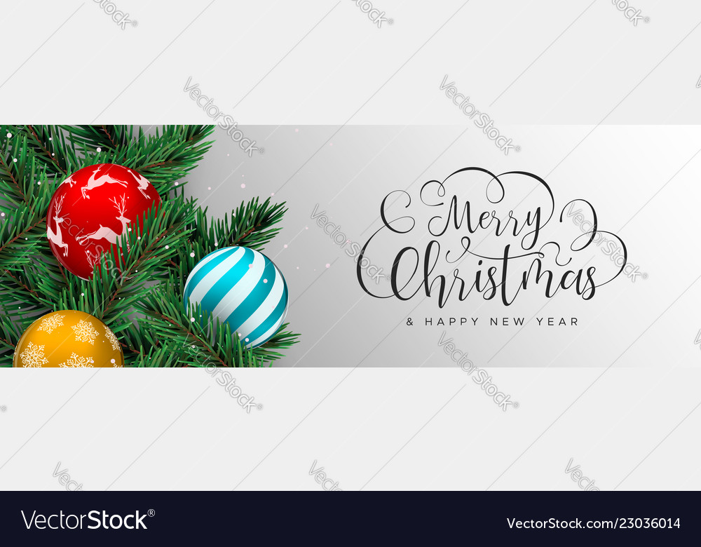 Christmas web banner of color baubles on pine tree